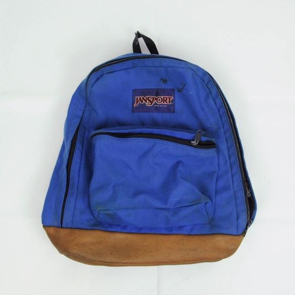Vintage 90s Jansport Backpack Leather Bottom